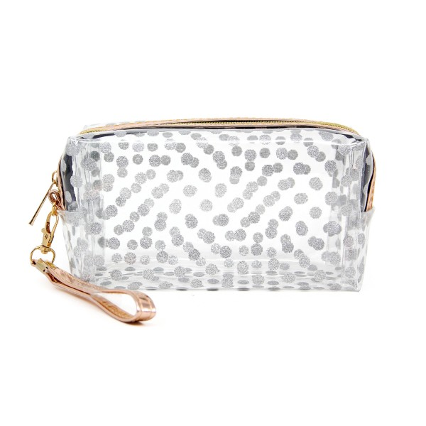 "Clear glitter polka dot travel pouch with wristlet.  - Detachable wristlet 6.5"" L - Approximately 10"" W x 4"" T - 100% PVC"