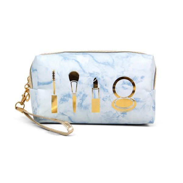"""Marble cosmetic pouch with wristlet.  - Detachable wristlet 7"""" L - Open inside  - Approximately 10"""" W x 4"""" T - 100% PVC"""