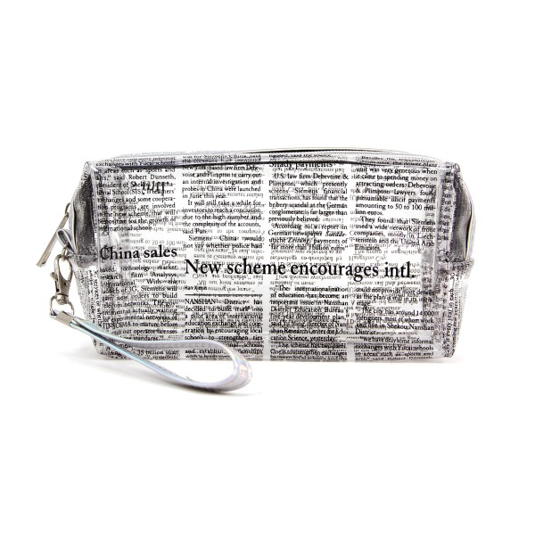 """Clear China newsletter print travel pouch with wristlet.  - Detachable wristlet 7"""" L - Approximately 10"""" W x 4"""" T - 100% PVC"""