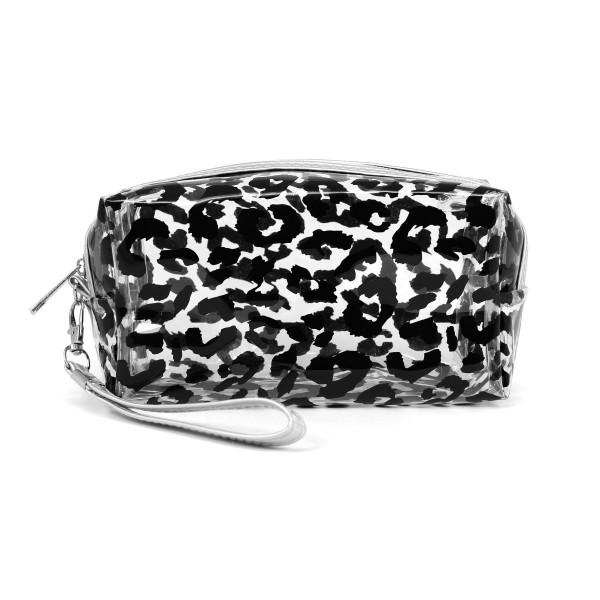 """Clear leopard print travel pouch with wristlet.  - Detachable wristlet 7"""" L - Approximately 10"""" W x 4"""" T - 100% PVC"""