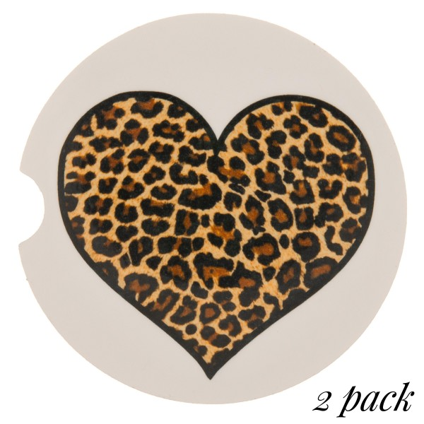 "Leopard heart printed car coaster set.  - Pack Breakdown: 2pcs / pack - Approximately 2"" in diameter - Finger slot for easy removal - Condensation absorbing cork"