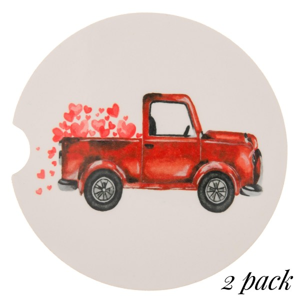 """Red Valentine truck printed car coaster set.  - Pack Breakdown: 2pcs / pack - Approximately 2"""" in diameter - Finger slot for easy removal - Condensation absorbing cork"""