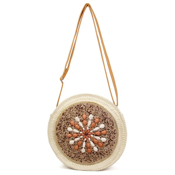 """Round seed beaded natural stone straw handbag.  - Open lined inside - No pockets - Zipper closure - Adjustable faux leather handle - Approximately 9"""" in diameter - 90% Polyester, 10% PU"""