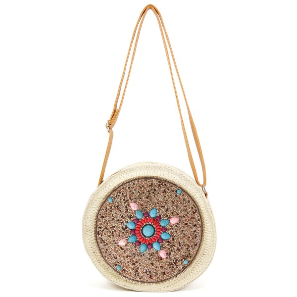 """Round seed beaded straw handbag with natural stone details.  - Open lined inside - No pockets - Zipper closure - Adjustable faux leather handle - Approximately 9"""" in diameter - 90% Polyester, 10% PU"""