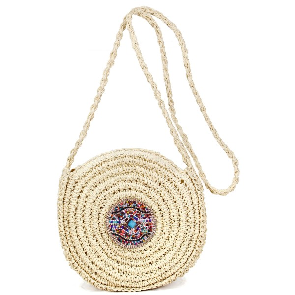 """Round paper straw woven handbag with multicolor seed beaded Turquoise center detail.  - Open lined inside  - 1 open inside pocket  - Zipper closure - Braided handle hangs 23"""" L - Approximately 10"""" in diameter - 100% Paper"""