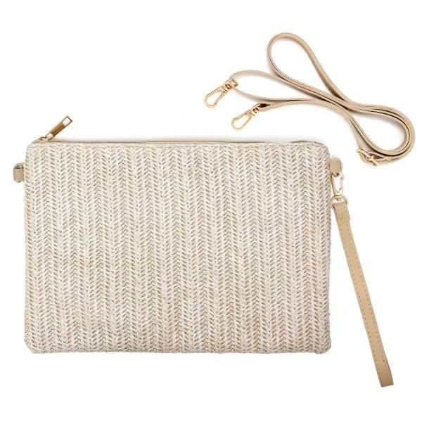 "Ivory Raffia Paper Handbag.  - Zipper Closure - Lined Inside - 1 Inside Zipper Pocket - Detachable Wristlet and Strap - Approximately 11"" x 8""  - 90% PE, 10% PU"