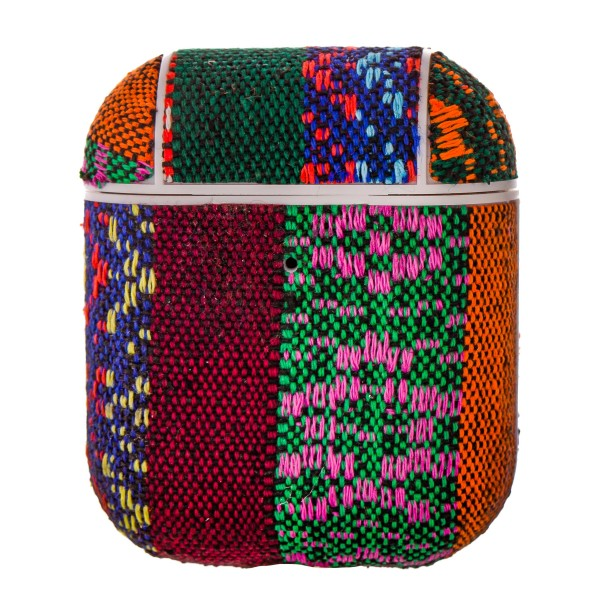 Wide Serape embroidered hard cover AirPod case protector featuring:   - 360 Full Protection  - USB Port  - Compatible with AirPods & AirPods 2  - High quality fabric material  - Detachable clip  - Hard plastic inside lining  - Magnetic secure closure   AirPod case must be inserted into protector for magnetic closure to snap securely.   AirPods not included.