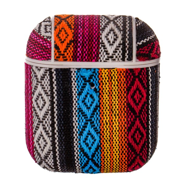 Multicolor Ethnic embroidered hard cover AirPod case protector featuring:   - 360 Full Protection  - USB Port  - Compatible with AirPods & AirPods 2  - High quality fabric material  - Detachable clip  - Hard plastic inside lining  - Magnetic secure closure   AirPod case must be inserted into protector for magnetic closure to snap securely.   AirPods not included.