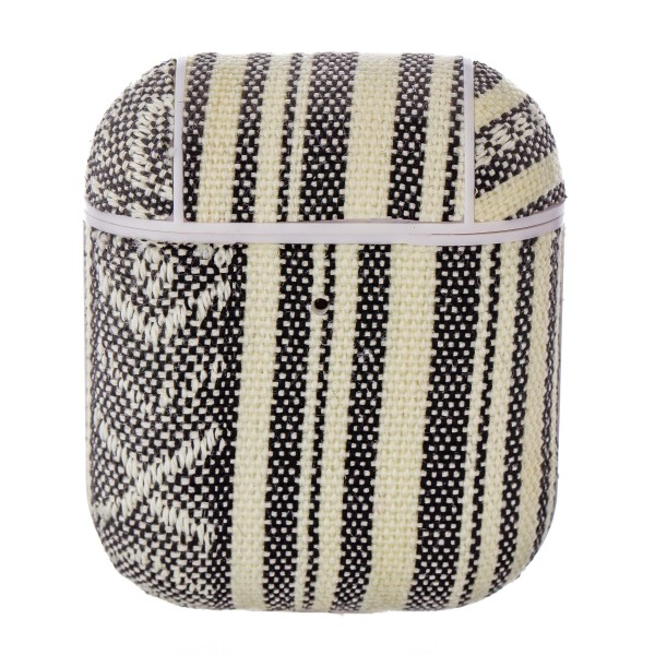 Black and White striped Ethnic embroidered hard cover AirPod case protector featuring:   - 360 Full Protection  - USB Port  - Compatible with AirPods & AirPods 2  - High quality fabric material  - Detachable clip  - Hard plastic inside lining  - Magnetic secure closure   AirPod case must be inserted into protector for magnetic closure to snap securely.   AirPods not included.