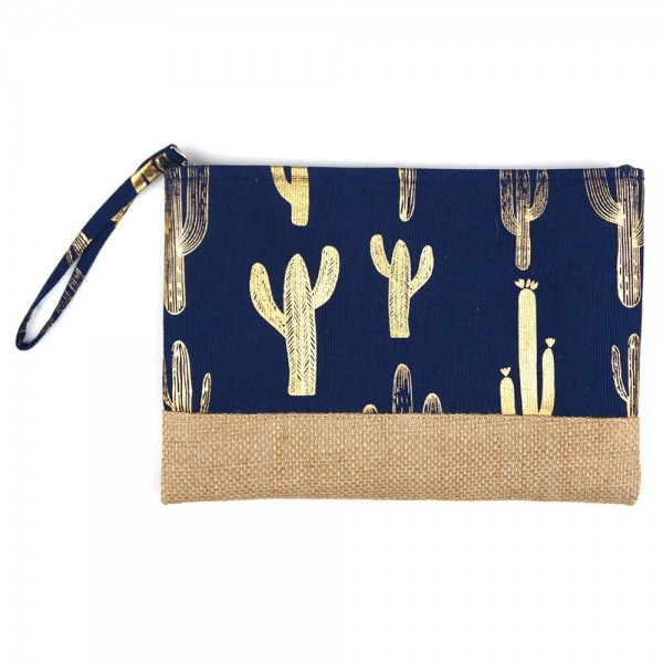 "Metallic cactus print canvas travel pouch wristlet.  - One inside open pocket - Approximately 10"" W x 7"" T  - 55% Cotton, 35% Polyester, 10% Jute"