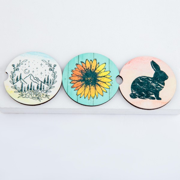 """Distressed Easter Bunny printed car coaster set.  - Pack Breakdown: 2pcs/pack - Approximately 2"""" in diameter - Finger slot for easy removal - Condensation absorbing cork"""