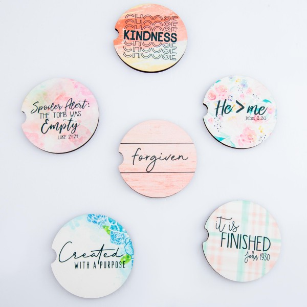 """""""It is Finished John 19:30"""" plaid printed car coaster set.  - Pack Breakdown: 2pcs/pack - Approximately 2"""" in diameter - Finger slot for easy removal - Condensation absorbing cork"""