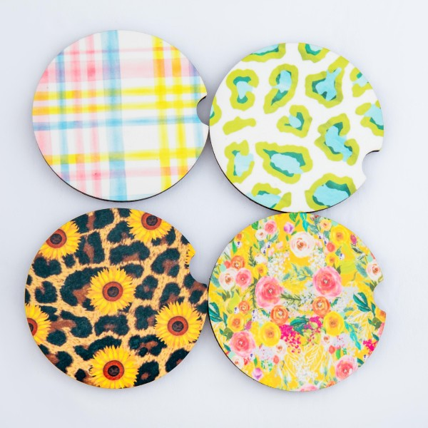 """Easter plaid printed car coaster set.  - Pack Breakdown: 2pcs/pack - Approximately 2"""" in diameter - Finger slot for easy removal - Condensation absorbing cork"""