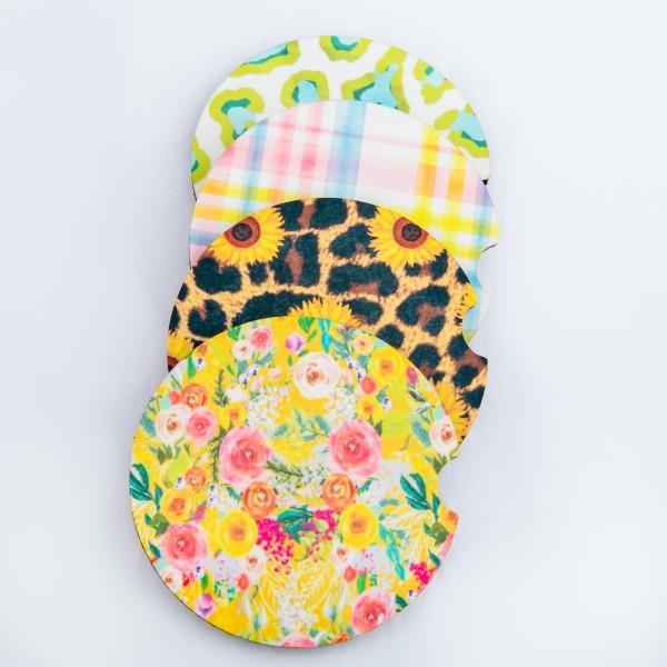 "Lime Leopard Print printed car coaster set.  - Pack Breakdown: 2pcs / pack - Approximately 2"" in diameter - Finger slot for easy removal - Condensation absorbing cork"