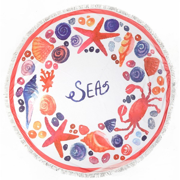 "Do everything in Love brand Sea Life Fringe round beach towel.  - Approximately 59"" in diameter - 70% Polyester / 30% Cotton"