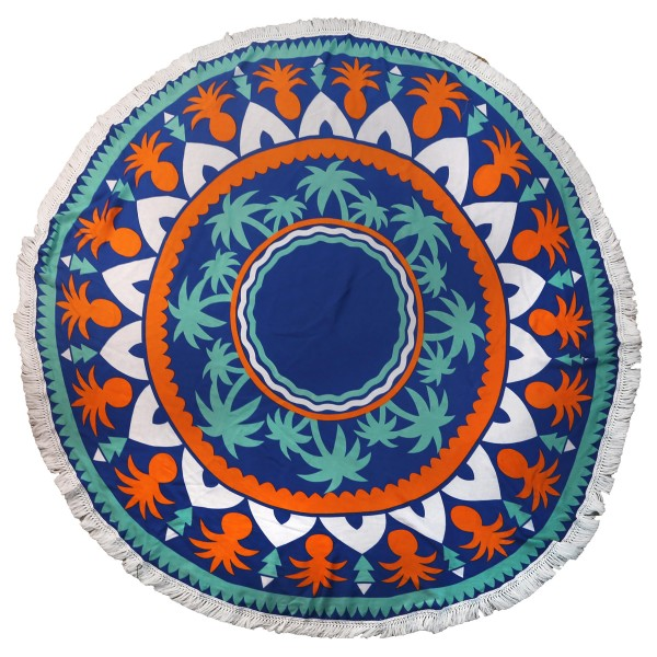 """Do everything in Love Brand Lightweight Geometric Palm Tree Print Fringe Beach Roundie.  - Approximately 59"""" in diameter - 100% Viscose"""