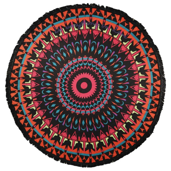 "Do everything in Love brand lightweight Black Multicolor Geometric fringe round beach throw.  - Approximately 59"" in diameter - 100% Viscose"