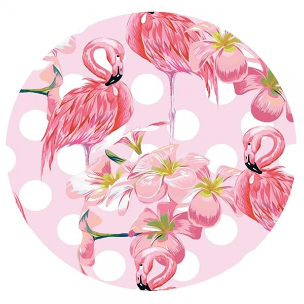 "Pink Flamingo Fringe Luxury Round Beach Towel.  - Approximately 59"" in diameter - 70% Cotton / 30% Polyester"