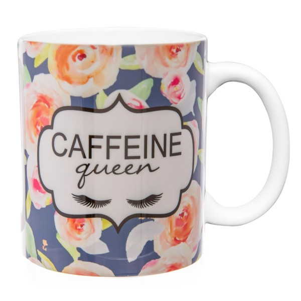 """Ceramic mug that has the phrase """"Caffeine Queen"""" printed on both sides with floral accents.  - Holds up to 8 fl oz"""