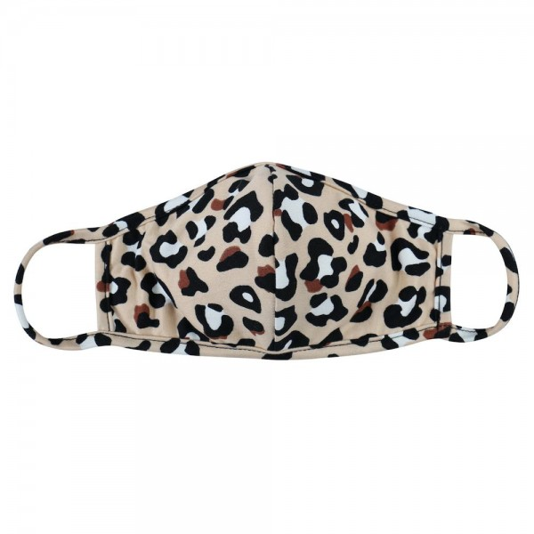 Reusable Leopard Print T-Shirt Cloth Face Mask with Seam.  - Machine Wash in Cold - Mild Detergent - Lay Flat to Dry - Do Not Bleach - Reusable Face Mask - These Mask Have NO Filter - One Size Fits Most Adults - Exterior Material: 95% Polyester / 5% Spandex - Interior Material: Cotton Blend in Ivory or White  These Masks Are Not For Professional Use and Not Medically Rated. These Masks Have No Proven Effectiveness Against Any Viruses.