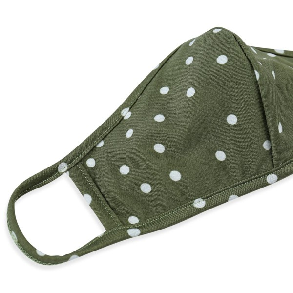 Reusable Polka Dot T-Shirt Cloth Face Mask with Seam.  - Machine Wash in Cold  - Mild Detergent  - Lay Flat to Dry - Do Not Bleach - Reusable Face Mask - These Mask Have NO Filter - One Size Fits Most Adults - Exterior Material: 95% Polyester / 5% Spandex - Interior Material: Cotton Blend in Ivory or White  These Masks Are Not For Professional Use and Not Medically Rated. These Masks Have No Proven Effectiveness Against Any Viruses.