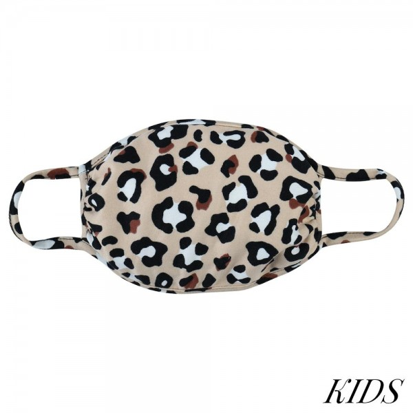 """KIDS Reusable Leopard Print T-Shirt Cloth Face Mask.  - Machine Wash in Cold - Mild Detergent - Lay Flat to Dry - Do Not Bleach - Reusable Face Mask - These Mask Have NO Filter - One Size Fits Most KIDS (AGES 5-11) - Exterior Material: 95% Polyester / 5% Spandex - Interior Material: Cotton Blend in Ivory or White  These Masks Are Not For Professional Use and Not Medically Rated. These Masks Have No Proven Effectiveness Against Any Viruses.  * """"This item is being Pre-Sold and is not currently in stock. We will ship out once we receive on a first come first serve basis. Due to the High Demand, we suggest getting your order placed ASAP as these are selling quickly and we cannot guarantee quantity."""""""