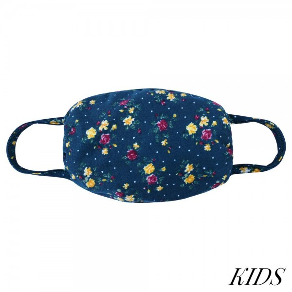 KIDS Reusable Floral Print T-Shirt Cloth Face Mask.  - Machine Wash in Cold - Mild Detergent - Lay Flat to Dry - Do Not Bleach - Reusable Face Mask - These Mask Have NO Filter - One Size Fits Most KIDS (AGES 5-11) - Exterior Material: 95% Polyester / 5% Spandex - Interior Material: Cotton Blend in Ivory or White  ** These Masks Are Not For Professional Use and Not Medically Rated. These Masks Have No Proven Effectiveness Against Any Viruses. *** ALL Sales Final Due to CDC Recommendations
