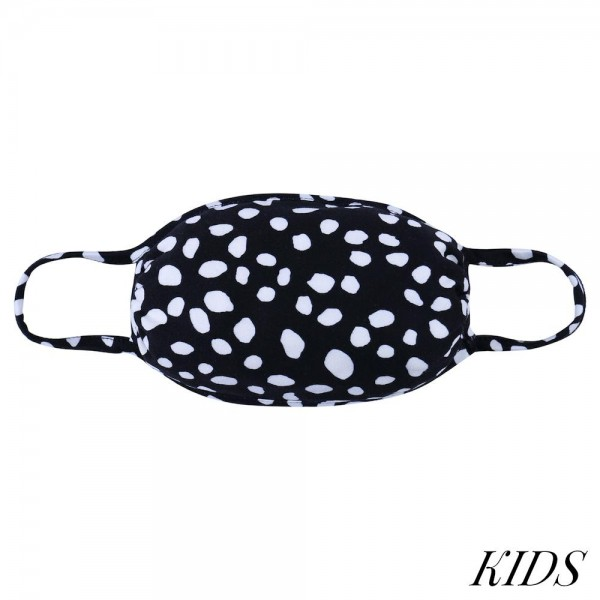 KIDS Reusable Dalmatian Print T-Shirt Cloth Face Mask.  - Machine Wash in Cold - Mild Detergent - Lay Flat to Dry - Do Not Bleach - Reusable Face Mask - These Mask Have NO Filter - One Size Fits Most KIDS (AGES 5-11) - Exterior Material: 95% Polyester / 5% Spandex - Interior Material: Cotton Blend in Ivory or White  These Masks Are Not For Professional Use and Not Medically Rated. These Masks Have No Proven Effectiveness Against Any Viruses.