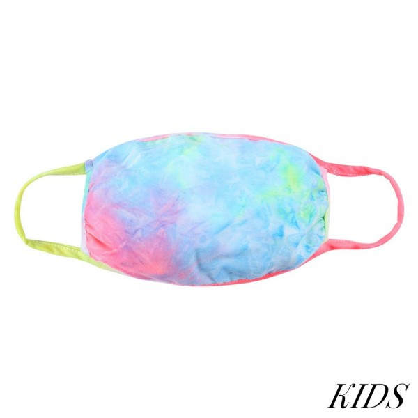 KIDS Reusable Tie-Dye T-Shirt Cloth Face Mask.  - Machine Wash in Cold - Mild Detergent - Lay Flat to Dry - Do Not Bleach - Reusable Face Mask - These Mask Have NO Filter - One Size Fits Most KIDS (AGES 5-11) - Exterior Material: 95% Polyester / 5% Spandex - Interior Material: Cotton Blend in Ivory or White  These Masks Are Not For Professional Use and Not Medically Rated. These Masks Have No Proven Effectiveness Against Any Viruses.