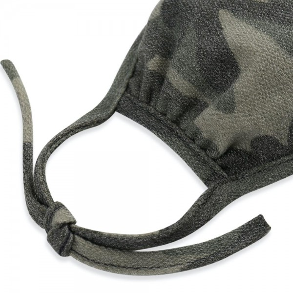 Adults Adjustable Reusable Camouflage T-Shirt Cloth Face Mask that Ties.  - Machine Wash in Cold - Mild Detergent - Lay Flat to Dry - Do Not Bleach - Adjustable Reusable Face Mask - These Mask Have NO Filter - One Size Fits Most Adults - Exterior Material: 95% Polyester / 5% Spandex - Interior Material: Cotton Blend in Ivory or White  ** These Masks Are Not For Professional Use and Not Medically Rated. These Masks Have No Proven Effectiveness Against Any Viruses. *** ALL Sales Final Due to CDC Recommendations