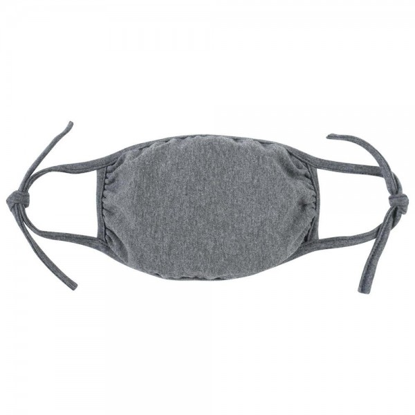 Adjustable Reusable Solid Color Cloth Face Mask that Ties.  - Machine Wash in Cold  - Mild Detergent  - Lay Flat to Dry - Do Not Bleach - Adjustable Reusable Face Mask - These Mask Have NO Filter - One Size Fits Most Adults - Exterior Material: 95% Polyester / 5% Spandex - Interior Material: Cotton Blend in Ivory or White  ** These Masks Are Not For Professional Use and Not Medically Rated. These Masks Have No Proven Effectiveness Against Any Viruses. *** ALL Sales Final Due to CDC Recommendations