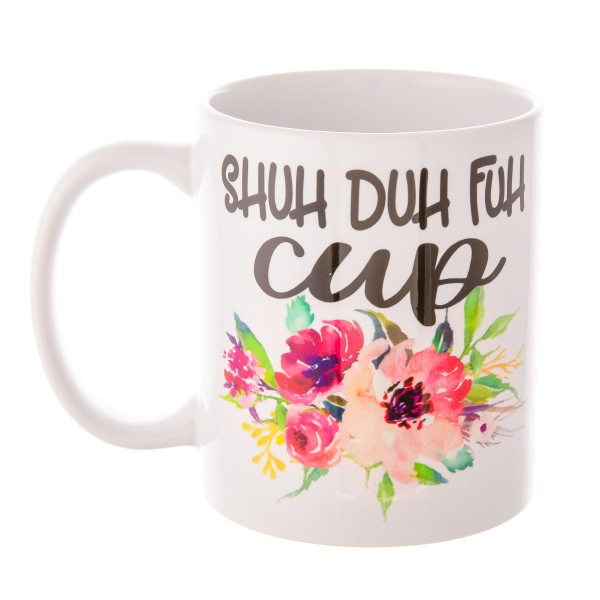 SHUH DUH FUH CUP Floral Printed Ceramic Coffee Mug.  - Holds up to approximately 11 fl oz.