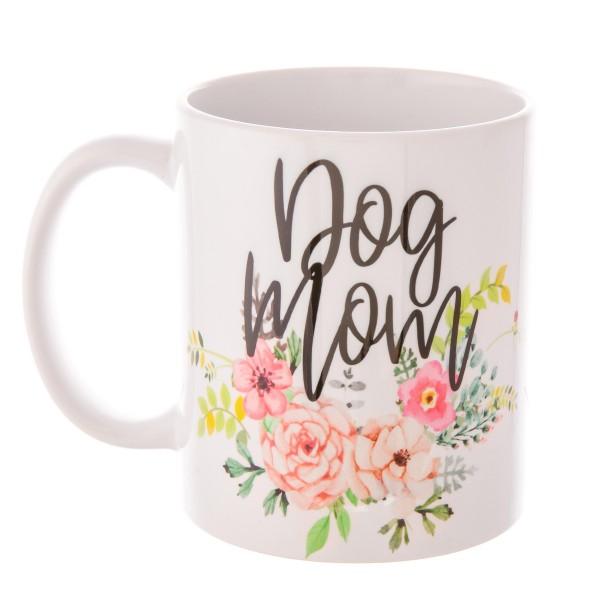"""Dog Mom"" Floral Printed Ceramic Coffee Mug.  - Holds up to approximately 11 fl oz."