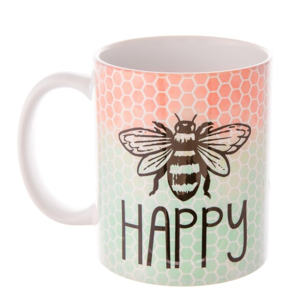 """""""Be Happy"""" Ombre Honeycomb Printed Ceramic Coffee Mug.  - Holds up to approximately 11 fl oz."""
