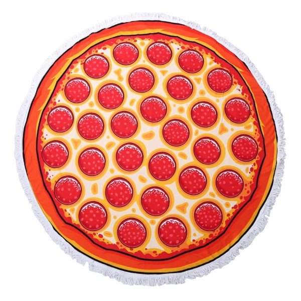 """Pepperoni Pizza Luxury Round Beach Towel with 2"""" Fringe Tassels.  - Machine Wash Cold - Tumble Dry Low - Wash Before Use - Do Not Bleach  - Approximately 59"""" in diameter - 100% Cotton"""