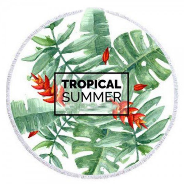 "Tropical Summer Palm Leaf Print Luxury Round Beach Towel with 2"" Fringe Tassels.  - Machine Wash Cold - Tumble Dry Low - Wash Before Use - Do Not Bleach  - Approximately 59"" in diameter - 100% Cotton"