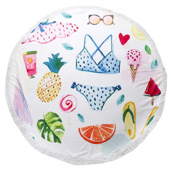 "Sweet Summer Time Print Luxury Round Beach Towel with 2"" Fringe Tassels.  - Machine Wash Cold - Tumble Dry Low - Wash Before Use - Do Not Bleach  - Approximately 59"" in diameter - 100% Cotton"