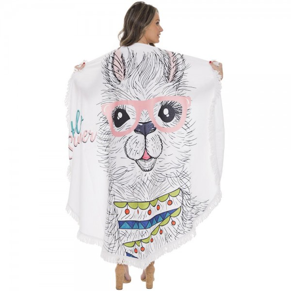 "Hello Summer Llama Face Print Luxury Round Beach Towel with 2"" Fringe Tassels.  - Machine Wash Cold - Tumble Dry Low - Wash Before Use - Do Not Bleach  - Approximately 59"" in diameter - 100% Cotton"