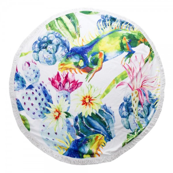 """Multicolor Eguana Cactus Print Luxury Round Beach Towel with 2"""" Fringe Tassels.  - Machine Wash Cold - Tumble Dry Low - Wash Before Use - Do Not Bleach  - Approximately 59"""" in diameter - 100% Cotton"""