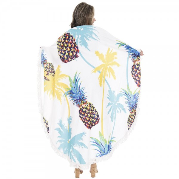 """Palm Tree Pineapple Print Luxury Round Beach Towel with 2"""" Fringe Tassels.  - Machine Wash Cold - Tumble Dry Low - Wash Before Use - Do Not Bleach  - Approximately 59"""" in diameter - 100% Cotton"""