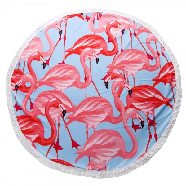 "Flamingo Print Luxury Round Beach Towel with 2"" Fringe Tassels.  - Machine Wash Cold - Tumble Dry Low - Wash Before Use - Do Not Bleach  - Approximately 59"" in diameter - 100% Cotton"