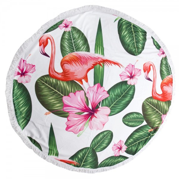 "Tropical Hibiscus Flamingo Print Luxury Round Beach Towel with 2"" Fringe Tassels.  - Machine Wash Cold - Tumble Dry Low - Wash Before Use - Do Not Bleach  - Approximately 59"" in diameter - 100% Cotton"