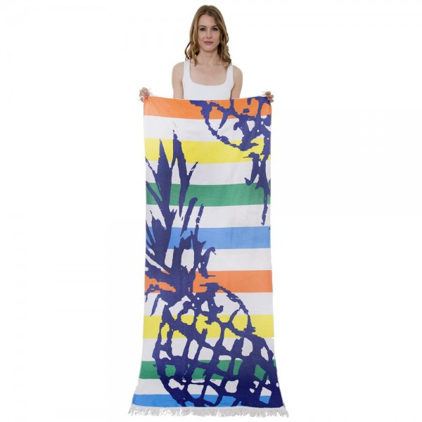 "Multicolor Stripe Pineapple Print Beach Towel with 2"" Fringe Tassels.  - Machine Wash Cold - Tumble Dry Low - Wash Before Use - Do Not Bleach  - Approximately 27.5"" W x 70"" L - 100% Cotton"