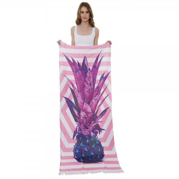 "Geometric Purple Pineapple Print Beach Towel with 2"" Fringe Tassels.  - Machine Wash Cold - Tumble Dry Low - Wash Before Use - Do Not Bleach  - Approximately 27.5"" W x 70"" L - 100% Cotton"