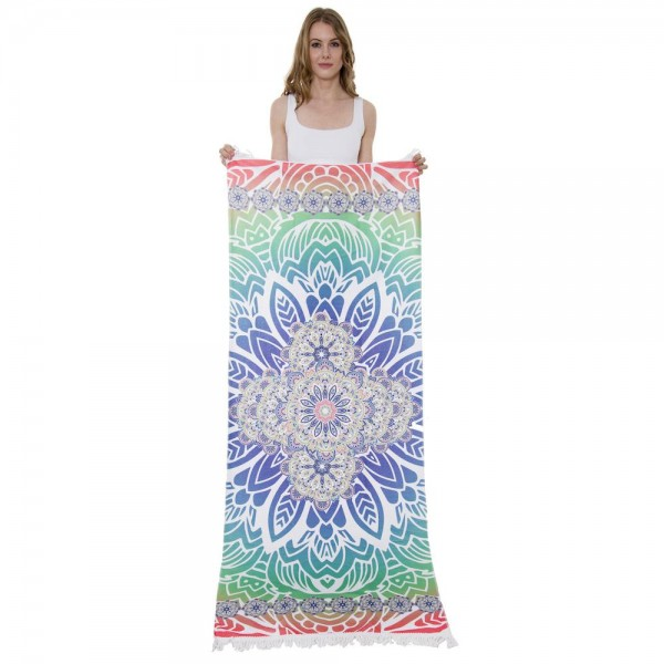 """Multicolor Geometric Floral Print Beach Towel with 2"""" Fringe Tassels.  - Machine Wash Cold - Tumble Dry Low - Wash Before Use - Do Not Bleach  - Approximately 27.5"""" W x 70"""" L - 100% Cotton"""