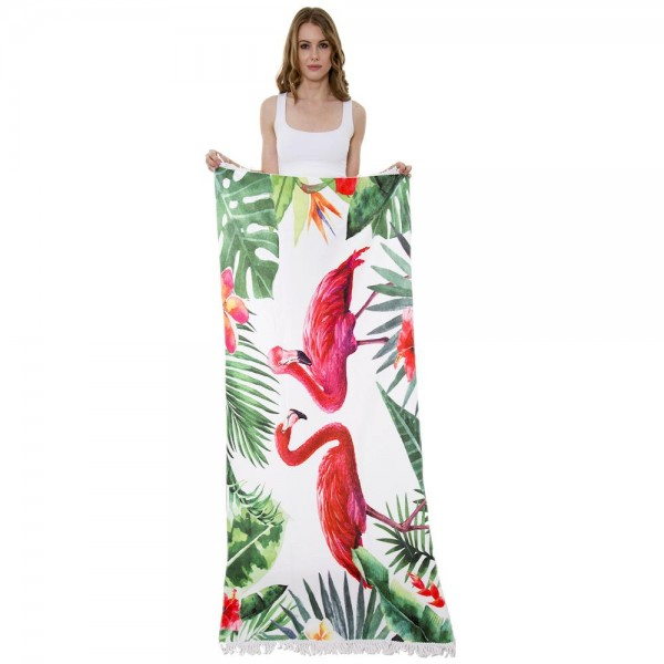 """Tropical Flamingo Print Beach Towel with 2"""" Fringe Tassels.  - Machine Wash Cold - Tumble Dry Low - Wash Before Use - Do Not Bleach  - Approximately 27.5"""" W x 70"""" L - 100% Cotton"""