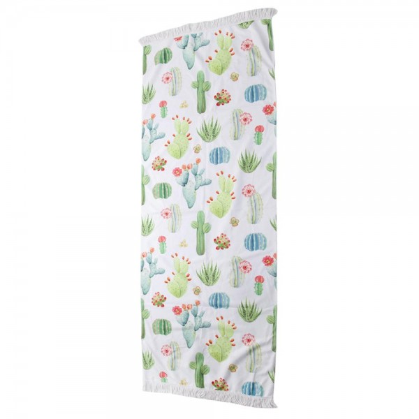 """Cactus Print Beach Towel with 2"""" Fringe Tassels.  - Machine Wash Cold - Tumble Dry Low - Wash Before Use - Do Not Bleach  - Approximately 27.5"""" W x 70"""" L - 100% Cotton"""