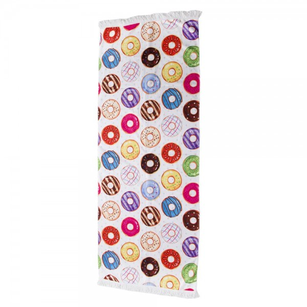 """Assorted Donut Print Beach Towel with 2"""" Fringe Tassels.  - Machine Wash Cold - Tumble Dry Low - Wash Before Use - Do Not Bleach  - Approximately 27.5"""" W x 70"""" L - 100% Cotton"""
