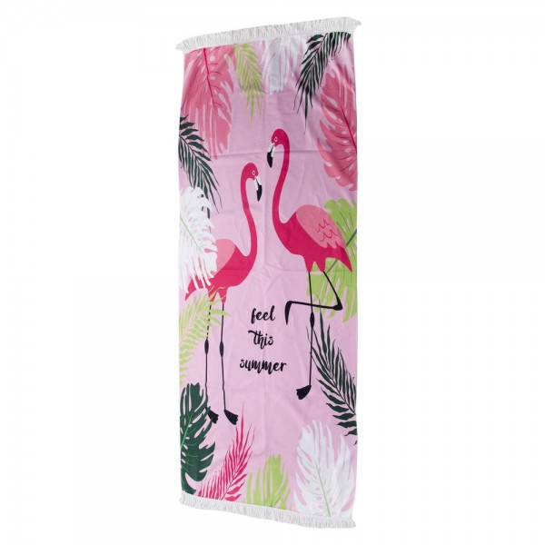 """Tropical Pink Flamingo Print """"Feel This Summer"""" Beach Towel with 2"""" Fringe Tassels.  - Machine Wash Cold - Tumble Dry Low - Wash Before Use - Do Not Bleach  - Approximately 27.5"""" W x 70"""" L - 100% Cotton"""