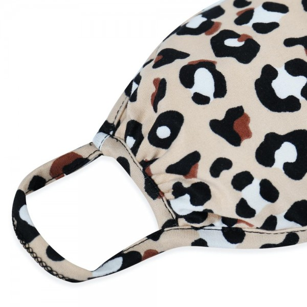 """ADULTS Reusable Leopard Print T-Shirt Cloth Face Mask.  - Machine Wash in Cold - Mild Detergent - Lay Flat to Dry - Do Not Bleach - Reusable Face Mask - These Mask have NO Filter - One Size Fits Most Adults - Exterior Material: 95% Polyester / 5% Spandex - Interior Material: Cotton Blend in Ivory or White  These Masks Are Not For Professional Use and Not Medically Rated. These Masks Have No Proven Effectiveness Against Any Viruses.  * """"This item is being Pre-Sold and is not currently in stock. We will ship out once we receive on a first come first serve basis. Due to the High Demand, we suggest getting your order placed ASAP as these are selling quickly and we cannot guarantee quantity."""""""